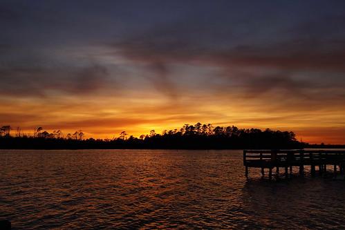 cloudsstormssunsetssunrises spectacularsunsetsandsunrises sunset creek northwestcreek northcarolina fairfieldharbour sony sonyphotographing sonya58 water fishingpier pier