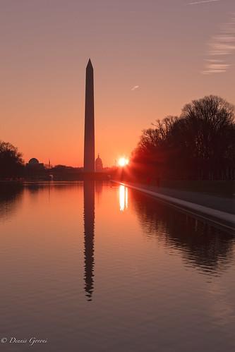 capitol dc washington washingtonmonument equinox landscape reflectingpool sunrise districtofcolumbia unitedstates us