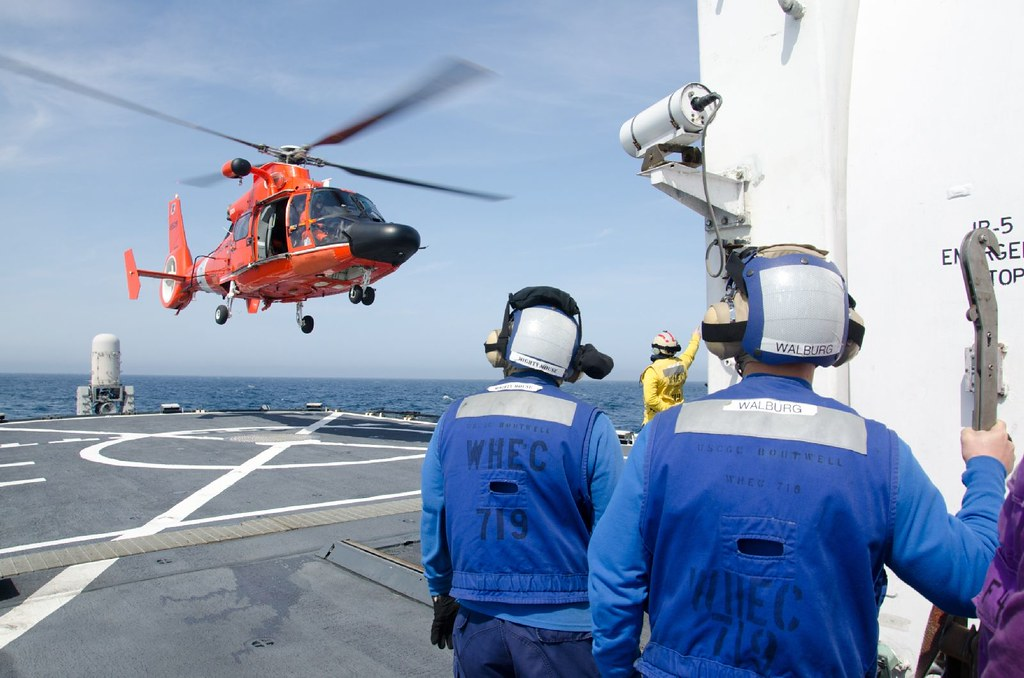 Boutwell patrols in the Bering Sea | A Coast Guard MH-65 Dol