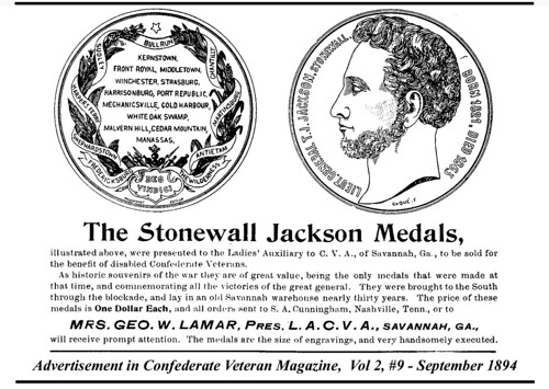 Stonewall Jackson medal ad