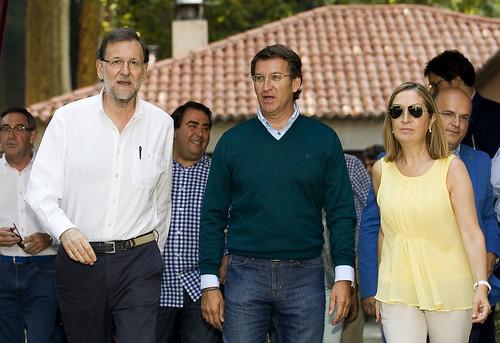 Mariano Rajoy con Alberto Núñez Feijóo y Ana Pastor