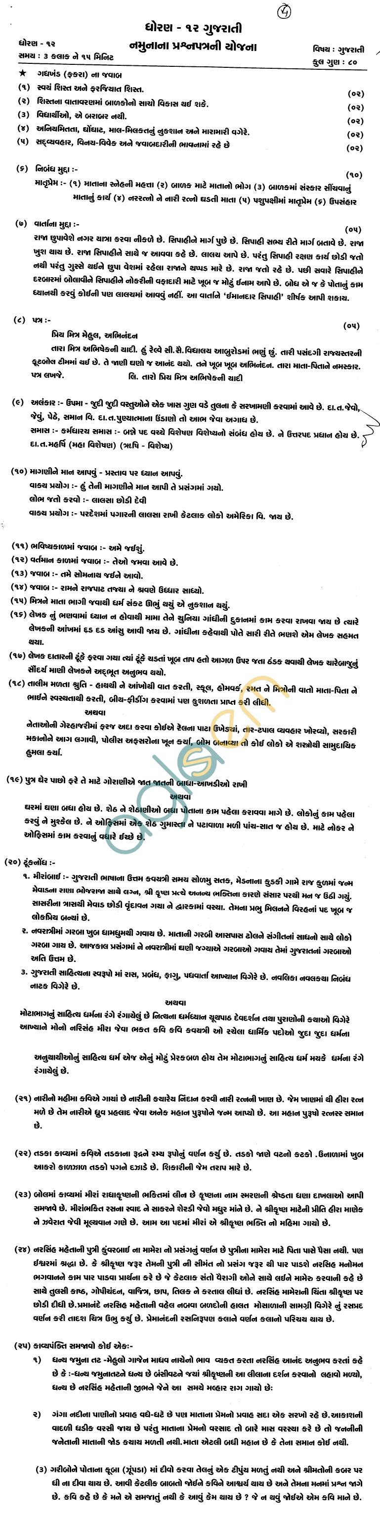 Rajasthan Board Class 12 Gujrati Model Question Paper