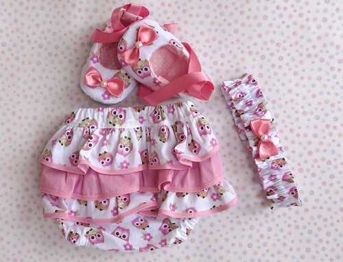 Kit - Sapatilha, tiara e tapa fralda by Cute for Baby by Mirian Rezende