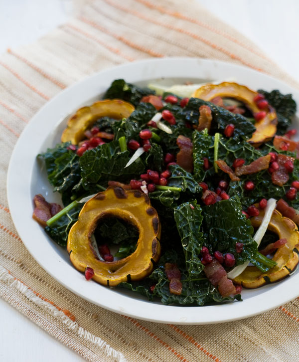 Delicata, Pomegranate Kale Salad with Lardon Dressing