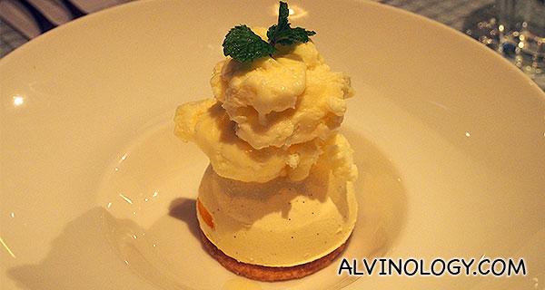 Mango & Cheese Semifreddo – Rippled frozen mousse, frozen lime foam, sable cookies (S$12)