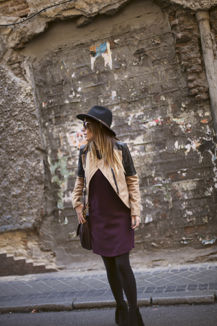 street style barbara crespo sheinside zara burgundy for fall outfit fashion blogger