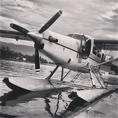 aviation, airplane, propeller driven aircraft, vehicle, propeller, seaplane, monochrome,