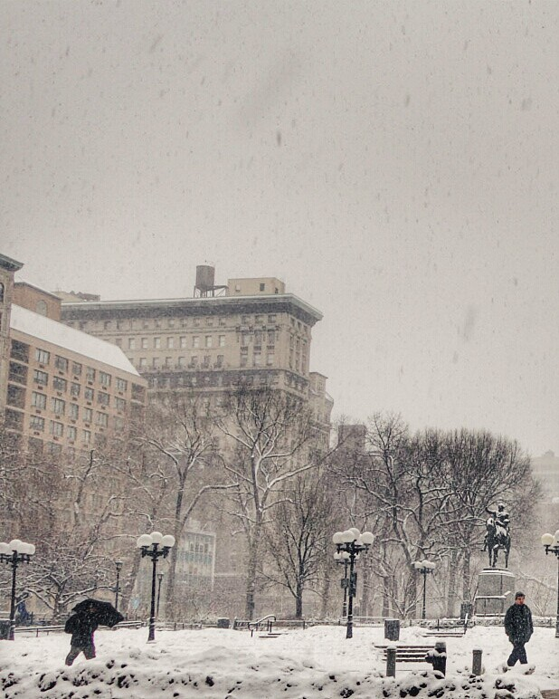 Snowy Union Square #walkingtoworktoday