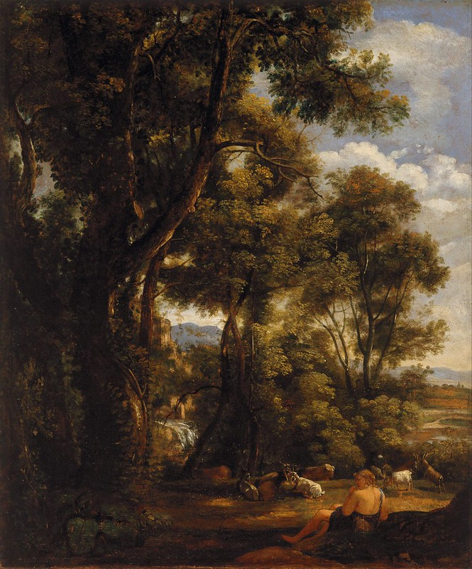 John Constable - Landscape with goatherd and goats (1823)