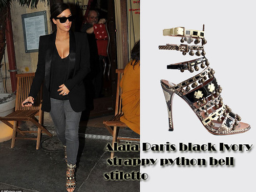 Kim Kardashian in Alaïa Paris black Ivory strappy python bell stiletto