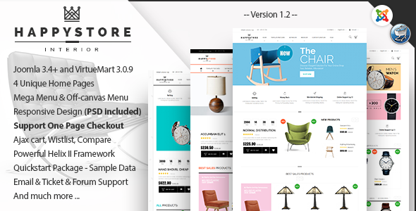 HappyStore v1.2 - Furniture & Interior Joomla Template