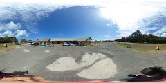 In front of the Antique Shop  by Fumi's Shrimp Truck outside Kahuku, Ko'olauloa, Oahu, Hawaii - 360° Equirectangular VR