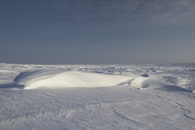 Side view of Sastrugi, wind carved ridges in the snow, near Arviat, Nunavut