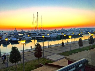 Sunset at the Floisvos marina in Athens, Greece