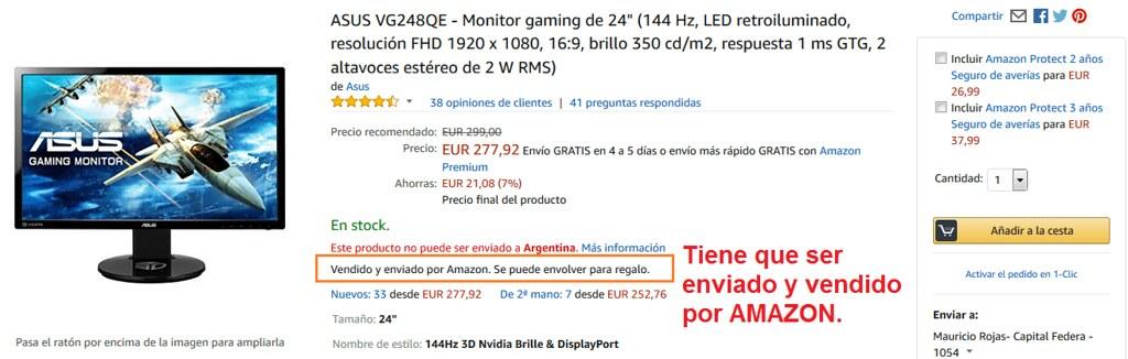 comprar monitor envio a la argentina
