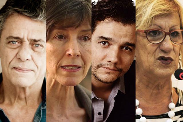 Da esquerda para direita, Chico Buarque, Maria Rita Kehl, Wagner Moura e Laerte Coutinho, que assinam o documento - Créditos: Montagem BdF