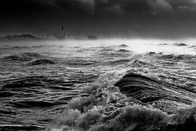 Sea storm in Tel-Aviv beach