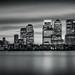 Canary Wharf Skyline mono by vulture labs