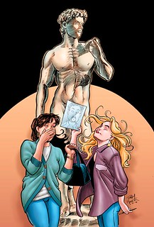 the main women of Strangers in Paradise stand in front of the naked David statue