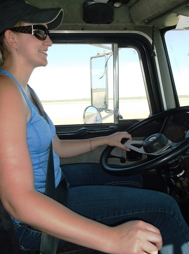 Megan driving the semi
