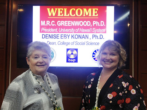 <p>UH President M.R.C. Greenwood and UH Manoa College of Social Sciences Dean Denise Konan greeted with a big screen announcement.</p>