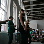 Sat, 22/06/2013 - 4:00pm - New York City's Lucius performs under the giant Phoenix at MASS MoCA. Photo by Laura Fedele
