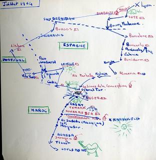 Plan voyage juillet 1964 France - Espagne - Maroc - Portugal