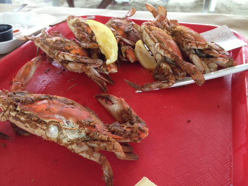 Crabs with wedge of lemon from Ocean City, MD