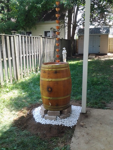 Rain chain, meet rain barrel