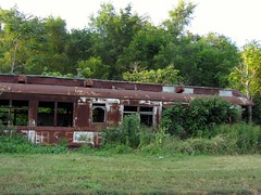 Abandoned Train Along Water Street in Peru, Illinois