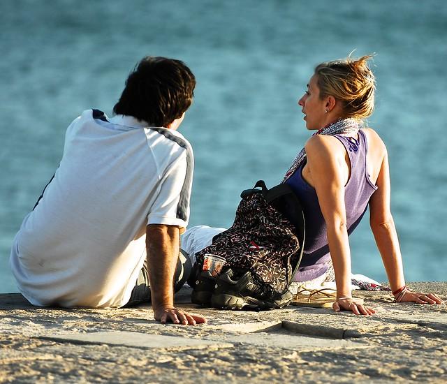 Talking at the sea shore