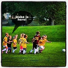Gabe's first soccer game tonight!