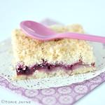 Gluten free Blackberry & pear crumble slice