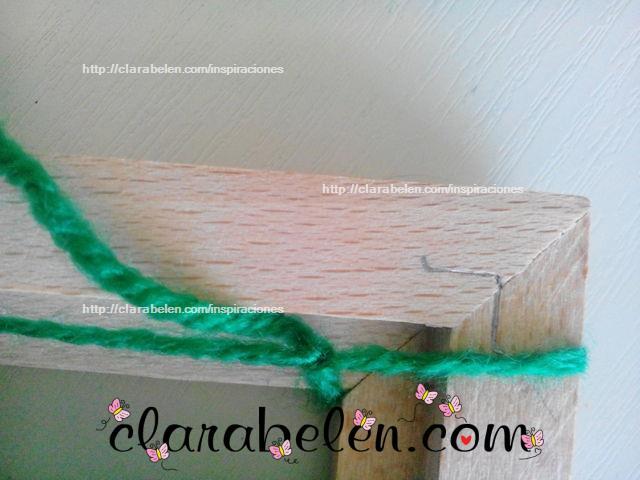 Usar un marco como bastidor para tejer