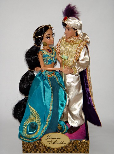 Jasmine and Aladdin Doll Set - Disney Fairytale Designer Collection - US Disney Store Purchase - First Look - Deboxed - Jasmine and Aladding Back on Display Stand - Full Front View