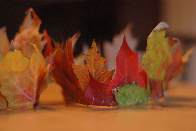 Pinterest scores again: fallen leaves sewn together to make Michaelmas crowns