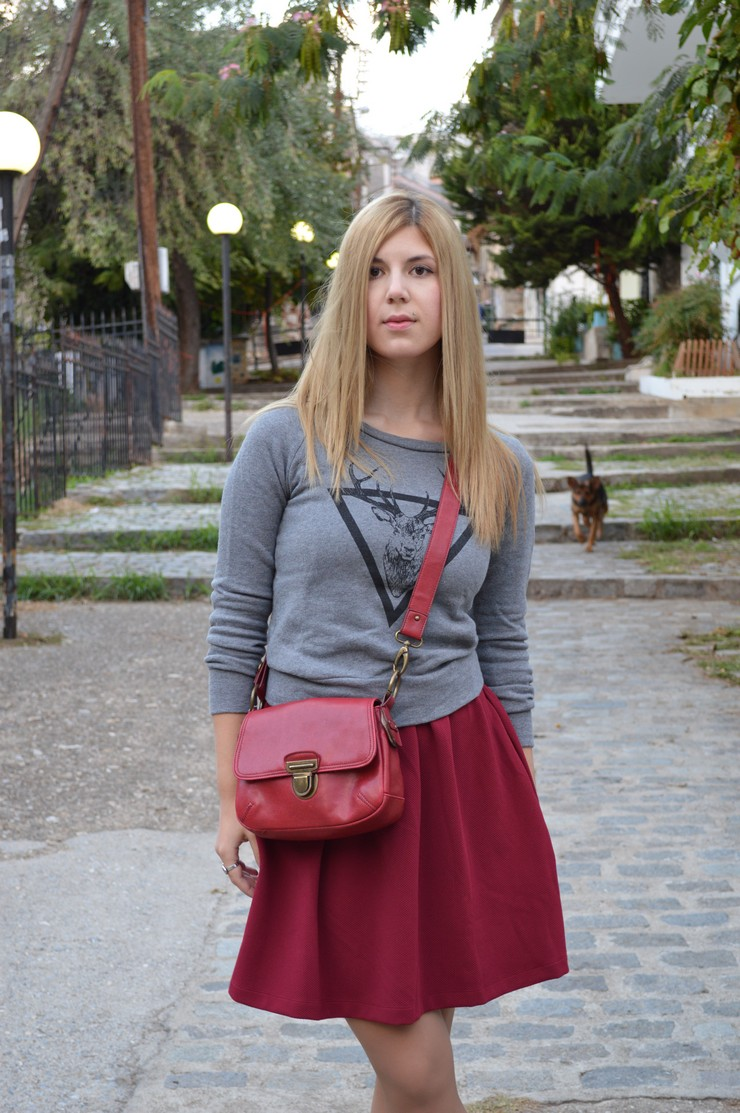 burgundy dress grey sweater4