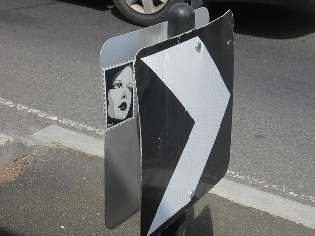 Art inside a road sign