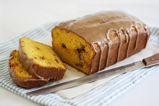 mocha-glazed pumpkin chocolate chip bread