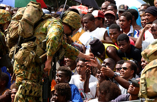 RAMSI military welcomed on arrival. Solomon Islands 2003 Photo: © Gary Ramage, Australian Defence