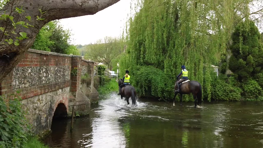 Shoreham stream horseriders (click on picture, then arrow to see short video (28 secs), hopefully) from the war memorial, by the bridge