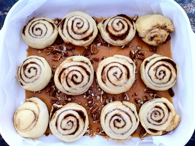 Sticky Buns in Corning Ware A-21-B-N Lsagana Pan