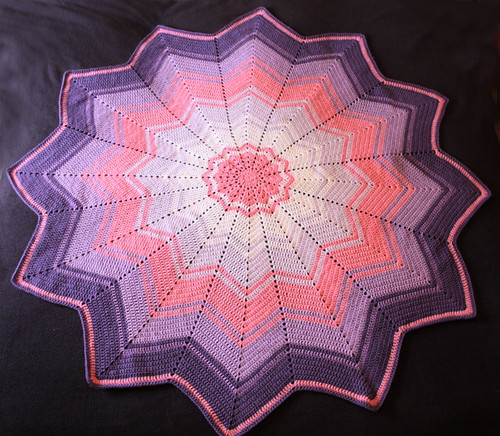 Pink rainbow ripple blanket