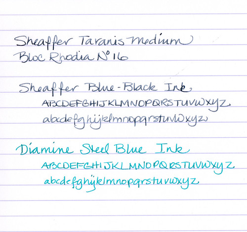 Sheaffer Taranis written sample on Rhodia paper