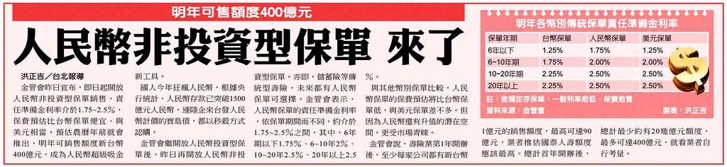 20131220[中國時報]人民幣非投資型保單 來了--明年可售額度400億元