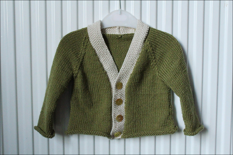 green and cream baby cardigan