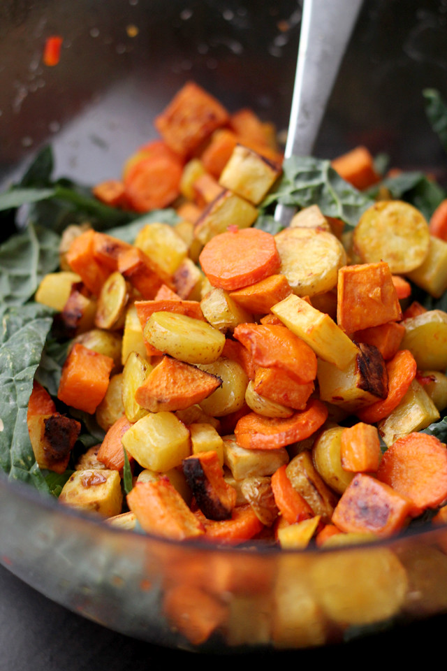 Miso-Harissa Roasted Carrot, Squash, and Two-Potato Salad | Joanne ...