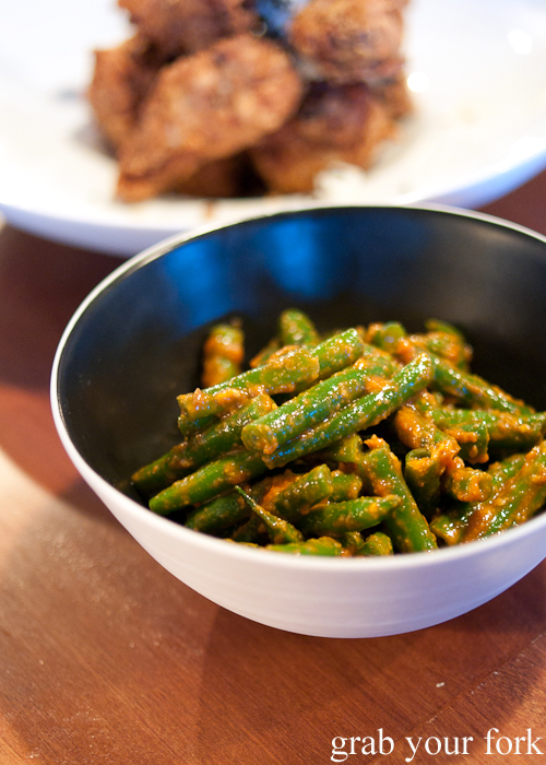 Green beans with ssamjang at Moon Park, Redfern