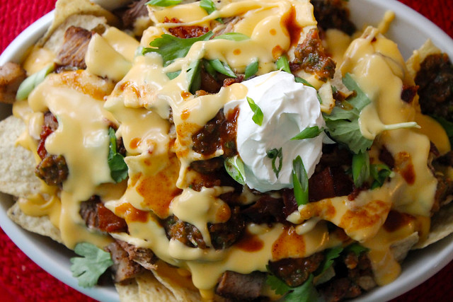 Macho Nachos, a river of cheese!
