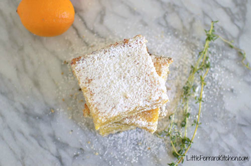 Lemon Thyme Bars via LittleFerraroKitchen.com